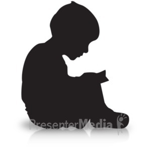 ID# 19180 - Boy Reading Silhouette - Presentation Clipart