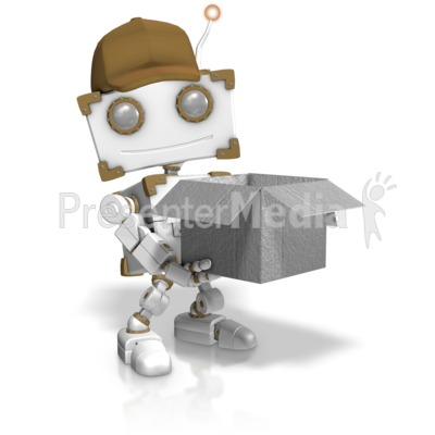 Delivery Robot Holding Open Box PowerPoint Clip Art
