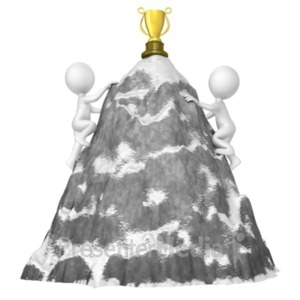 ID# 19217 - Figures Climb Mountain For Trophy - Presentation Clipart
