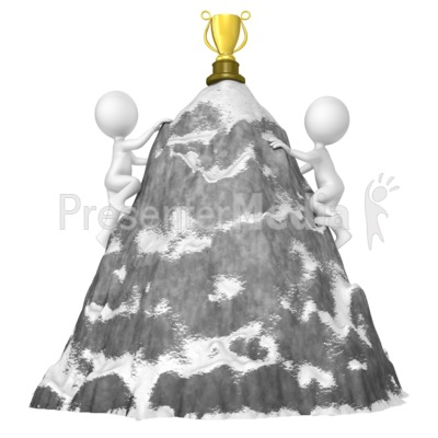 Figures Climb Mountain For Trophy PowerPoint Clip Art