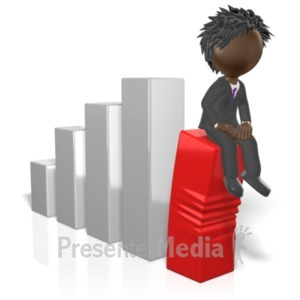 ID# 19220 - Businessman Sit On Graph - Presentation Clipart