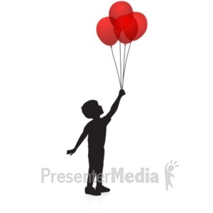 ID# 19291 - Boy Balloons Silhouette - Presentation Clipart