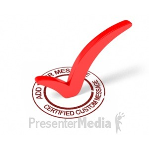 ID# 19298 - Certified Check Mark Custom - Presentation Clipart