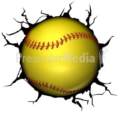 Softball Break Through PowerPoint Clip Art