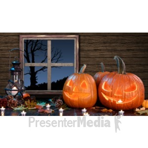 ID# 19364 - Jack O Lanterns In Barn - Presentation Clipart