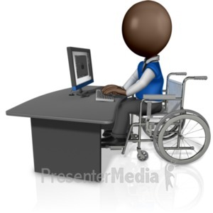 ID# 19387 - Man In Wheelchair Working At Desk - Presentation Clipart