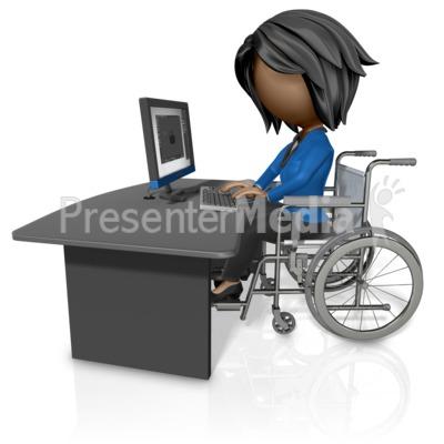 Woman In Wheelchair Working At Desk PowerPoint Clip Art