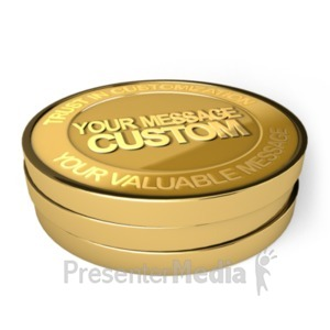 ID# 19396 - Gold Coin Custom - Presentation Clipart