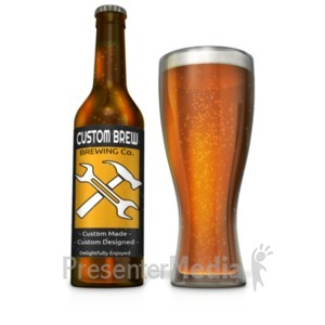 ID# 19418 - Custom Beer Bottle with Filled Glass - Presentation Clipart