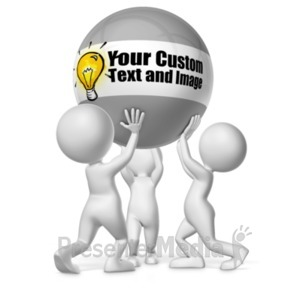 ID# 19442 - Three Figures Holding Custom Ball - Presentation Clipart