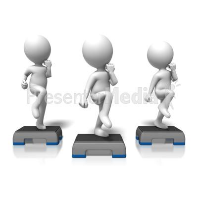 Cardio Step Exercise Group PowerPoint Clip Art