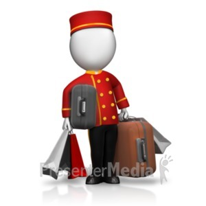 ID# 19478 - Bellhop Holding Lots of Luggage - Presentation Clipart