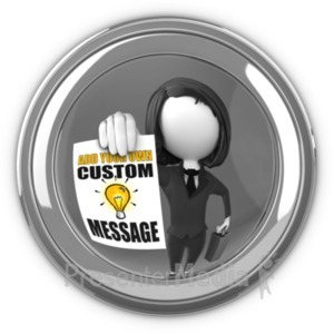 ID# 19502 - Businesswoman In Eyehole With Sign - Presentation Clipart