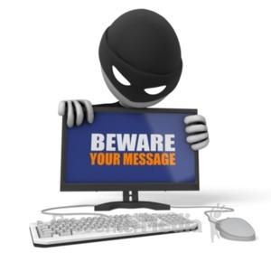 ID# 19517 - Thief Behind Computer - Presentation Clipart
