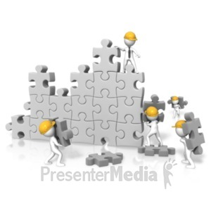 ID# 19551 - Puzzle Wall Construction Team - Presentation Clipart