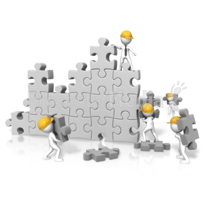 Puzzle Wall Construction Team PowerPoint Clip Art