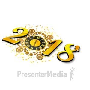 ID# 19566 - New Years Elegant Clock - Presentation Clipart