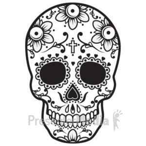 ID# 19583 - Sugar Skull Black White - Presentation Clipart