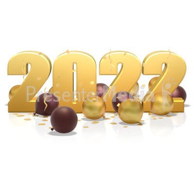 Custom Year In Balloons And Confetti PowerPoint Clip Art
