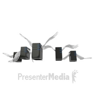 ID# 19590 - Servers Flying In Formation - Presentation Clipart