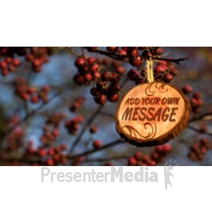 ID# 19598 - Berry Branches With Wooden Sign Hangin - Presentation Clipart