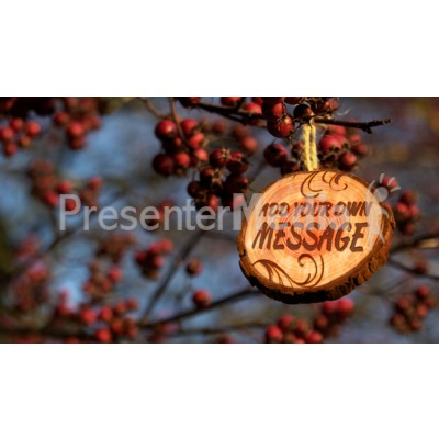Berry Branches With Wooden Sign Hangin Presentation clipart