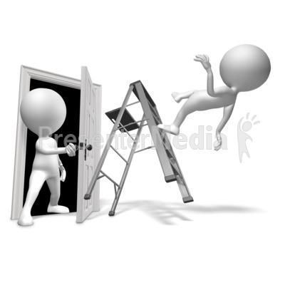 Walk Through Door Accident PowerPoint Clip Art