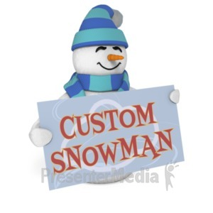ID# 19618 - Snowman Sign Custom - Presentation Clipart