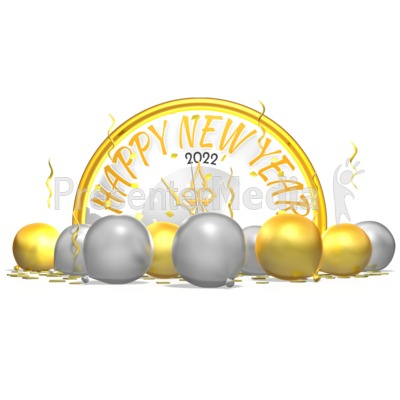 New Years Clock Behind Balloons Confetti Presentation clipart