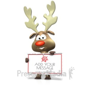 ID# 19625 - Reindeer Holding Sign - Presentation Clipart