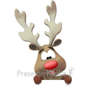 ID# 19650 - Reindeer Presenting Below - Presentation Clipart