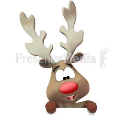 Reindeer Presenting Below PowerPoint Clip Art