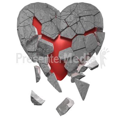 Breaking Heart Of Stone PowerPoint Clip Art