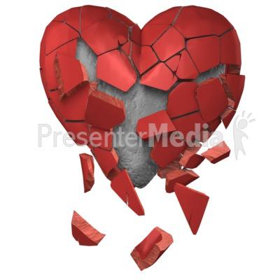 Heart Break Stone Underneath PowerPoint Clip Art