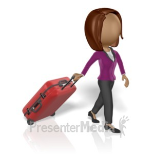 ID# 19671 - Business Woman Pull Luggage - Presentation Clipart