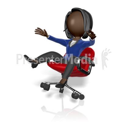Business Woman Fall Chair PowerPoint Clip Art