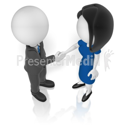 Man Woman Shake Hands Presentation clipart