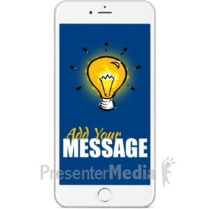 ID# 19696 - White Smartphone Front Facing - Presentation Clipart