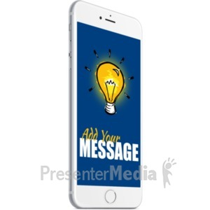 ID# 19697 - White Smartphone Angle Left - Presentation Clipart