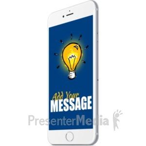 ID# 19698 - White Smartphone Angle Right - Presentation Clipart