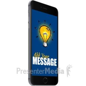 ID# 19708 - Black Smartphone Left Facing - Presentation Clipart