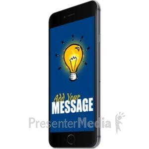 ID# 19709 - Black Smartphone Right Facing - Presentation Clipart