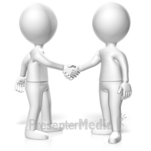ID# 19711 - Handshake Two Monochromatic Figures - Presentation Clipart