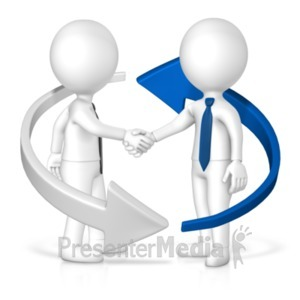 ID# 19719 - Business Handshake Arrow - Presentation Clipart