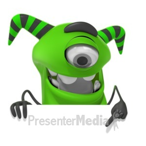 ID# 19773 - M Monster Pointing Down - Presentation Clipart