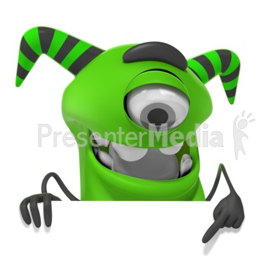 M Monster Pointing Down PowerPoint Clip Art