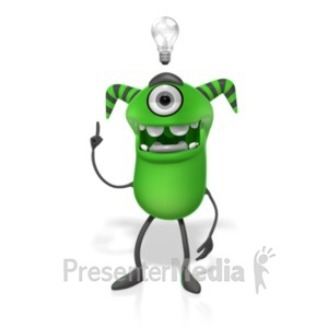 ID# 19777 - M Monster Light Bulb Idea - Presentation Clipart