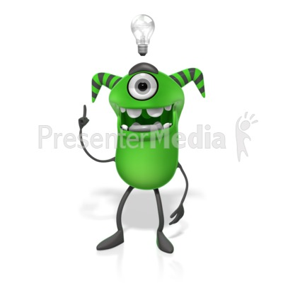 M Monster Light Bulb Idea PowerPoint Clip Art