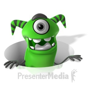 ID# 19792 - M Monster In Hole - Presentation Clipart