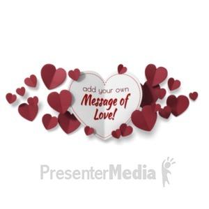 ID# 19800 - Paper Valentine Hearts - Presentation Clipart